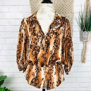 Parker animal print silk blouse size M
